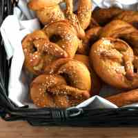 German Soft Pretzels - Crunchy on the outside, soft on the inside! This recipe is easy to make & - using baking soda instead of real brine - completely safe