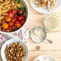 Enjoy this lighter chicken cesar pasta salad without any guilt!
