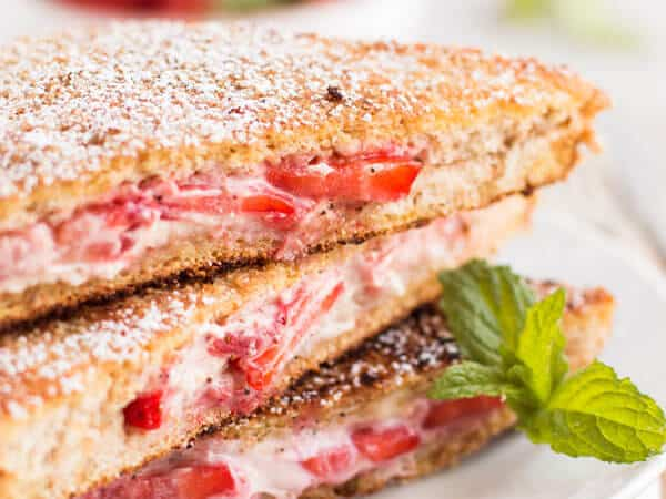 Healthy Cream Cheese Strawberry Stuffed French Toast