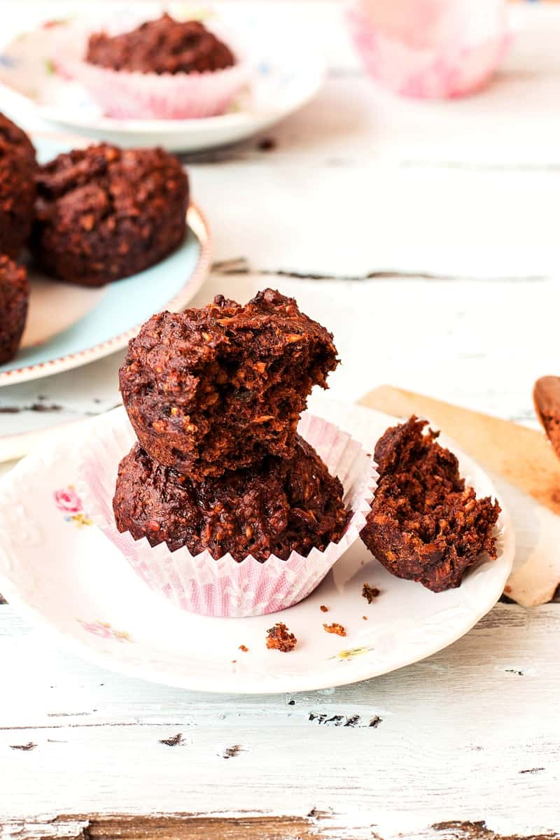 Chocolate Zucchini Coconut Muffins {healthy, vegan & refined sugar free!} | savorynothings.com
