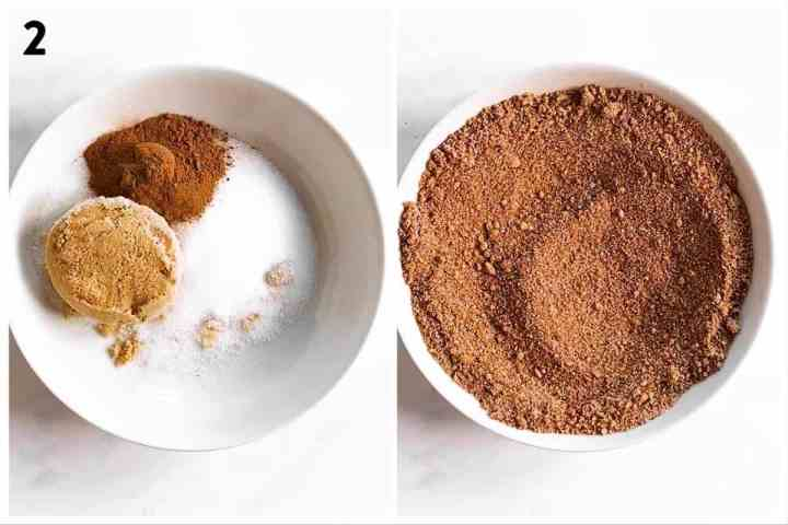 photo collage to show how to combine sugar mixture for candied almonds