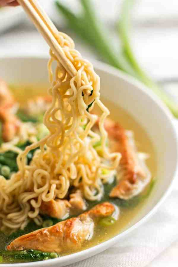 Leftover Turkey Ramen - The perfect meal to make after Thanksgiving to use up that turkey! Light and quick - 10mins! #thanksgiving #leftovers #turkey #ramen #healthy | savorynothings.com