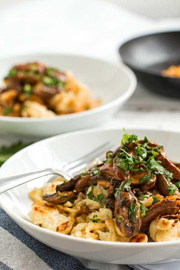 German Späetzle with mushroom sauce - the best of all fall comfort dinners!