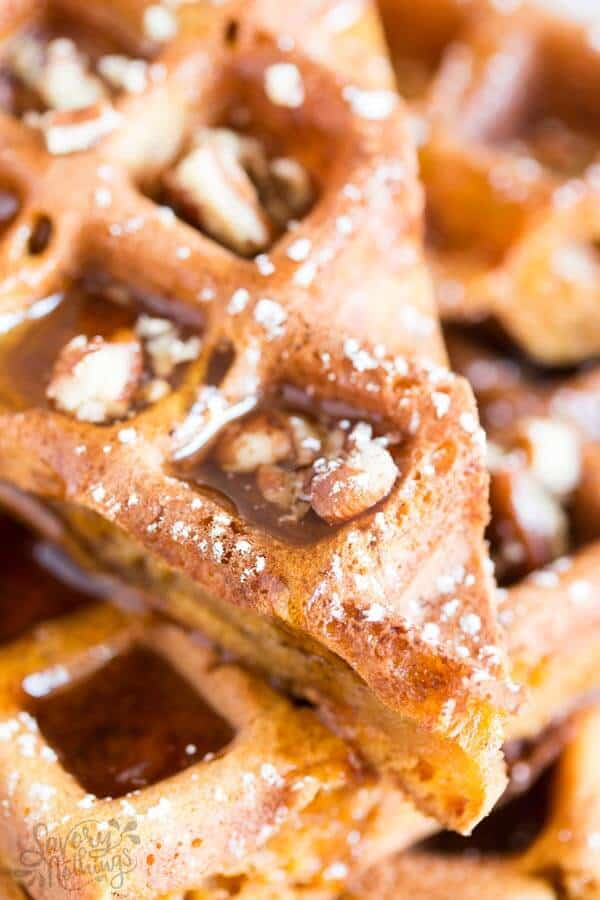 Looking for easy fall breakfast ideas? These homemade simple pumpkin waffles definitely need to happen in your waffle maker this autumn!