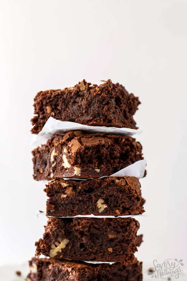stack of homemade brownies