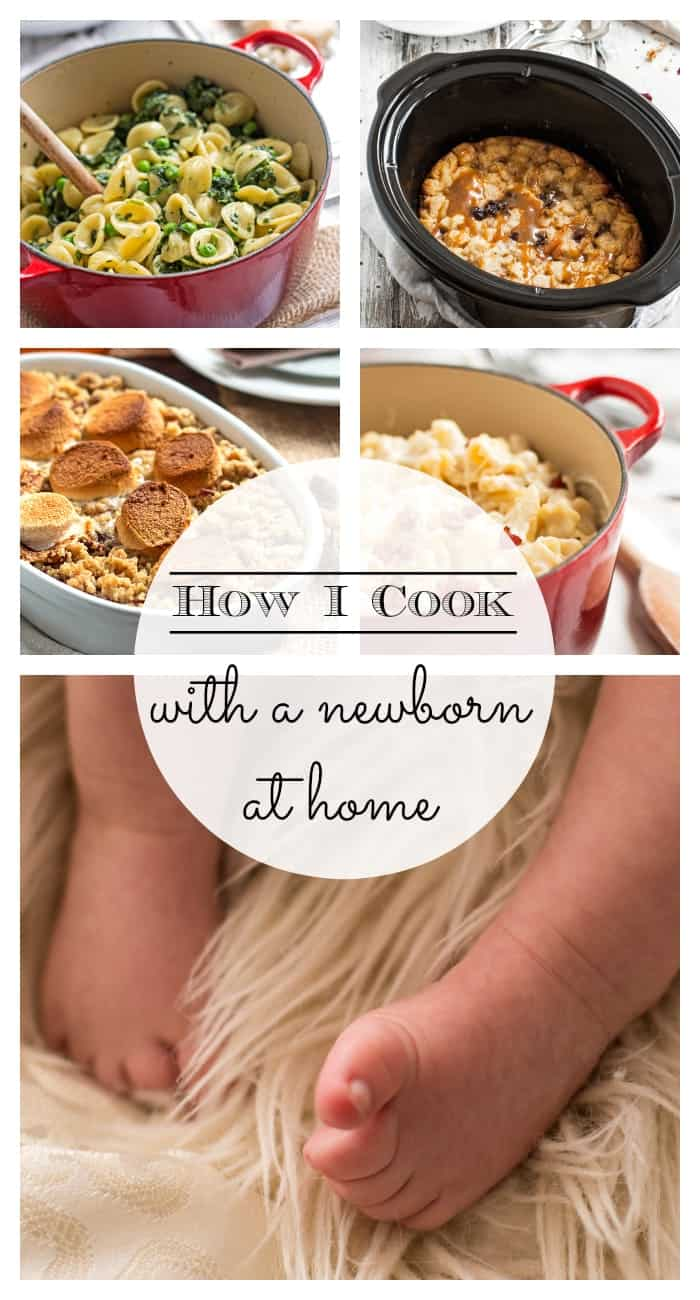 I'm sharing all the tips and tricks I've learned on my three month journey cooking with a newborn at home! (The last one was a game changer for me!)