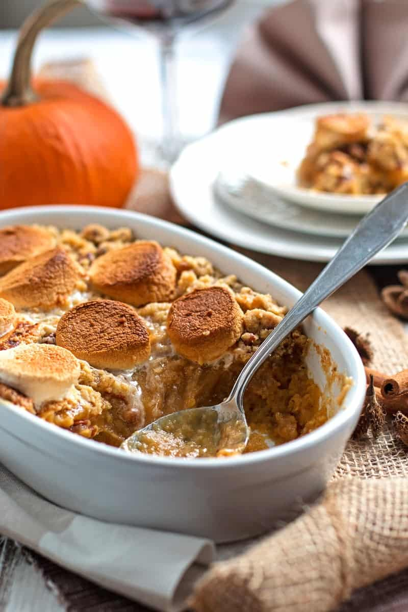This Sweet Potato Casserole recipe is an absolute stunner! It's with both marshmallows and with a crumbly brown sugar pecan topping. making this the best Thanksgiving side dish ever! It's simple, quick and easy to whip up as it's all made in a blender before baking! And there's even a hint of maple syrup in it!