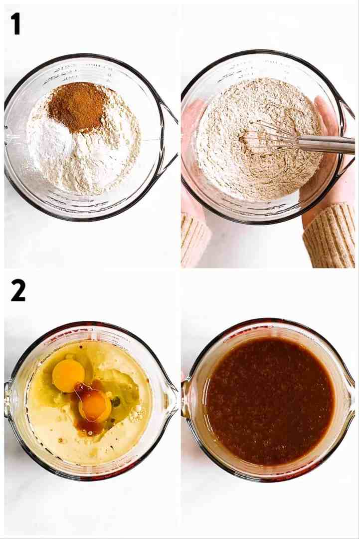 collage of photos to show separate combining  of dry and wet ingredients to make gingerbread muffins
