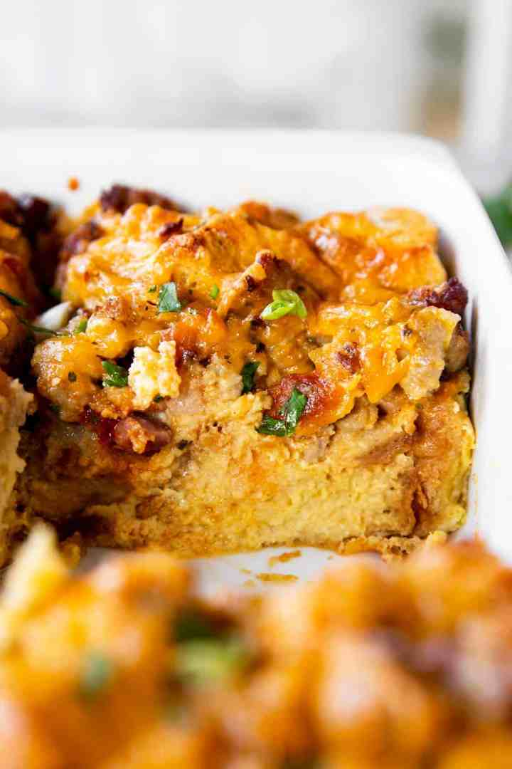 close up photo of breakfast casserole with sausage