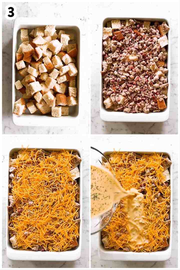 photo collage to show how to assemble a breakfast casserole