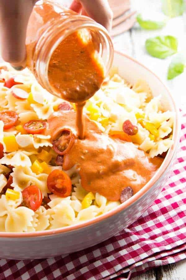 The dressing for this creamy pasta salad is SO good! Goes perfectly well with all the cold pepperoni pizza flavors.