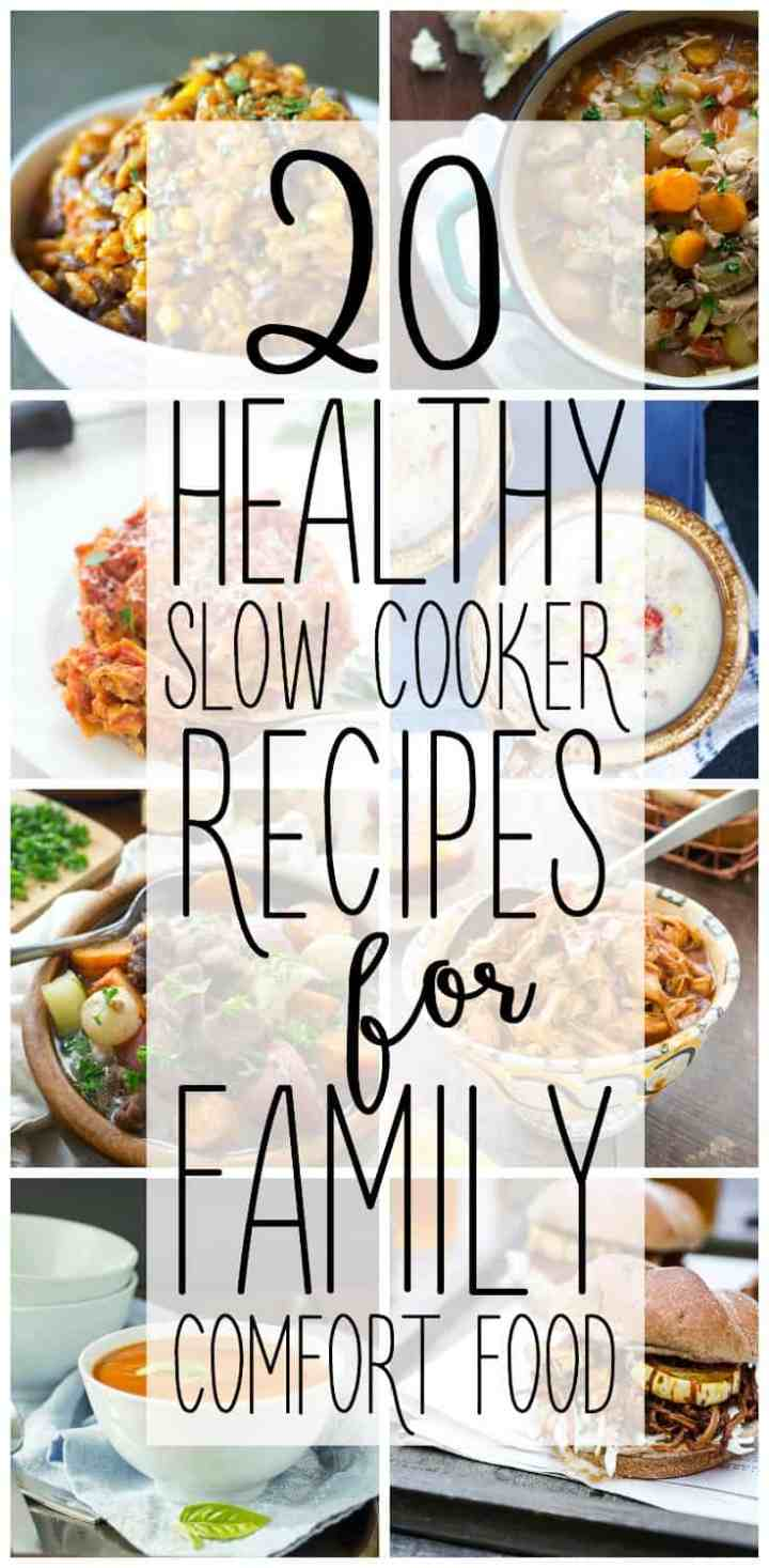 photo collage of healthy slow cooker recipes with text overlay