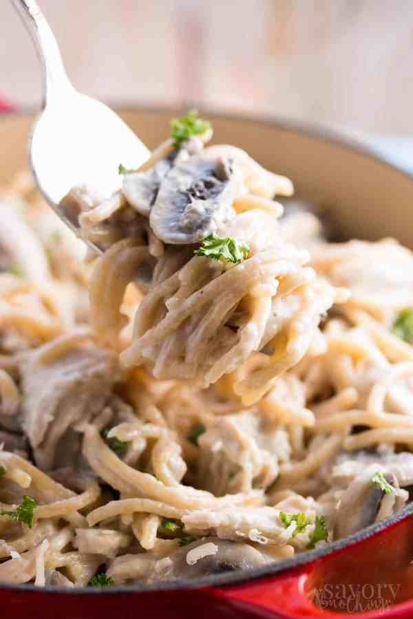 Relax your dinner time with this 30 Minute Healthy Stovetop Turkey Tetrazzini recipe. It's quick and easy to make and is sure to become a new family favorite. | savorynothings.com