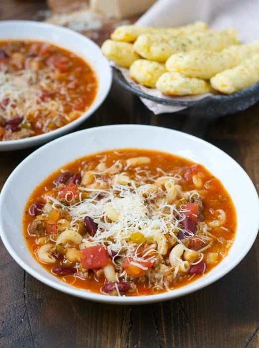 pasta Fagioli in white bowl