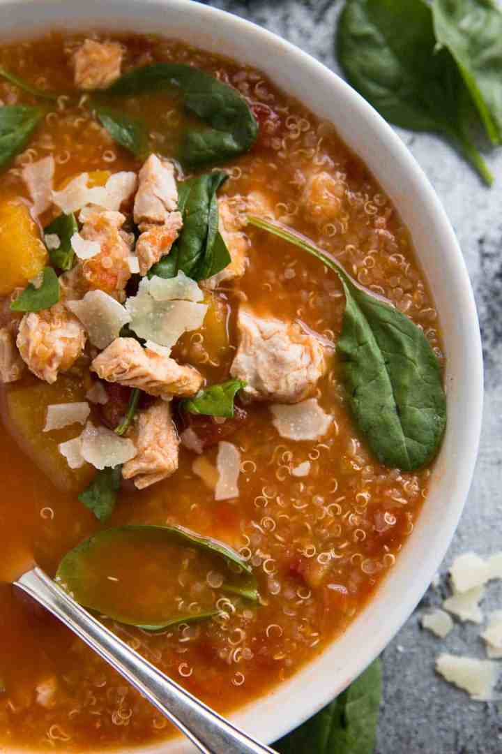 This healthy and kid-friendly Turkey, Pumpkin and Quinoa Slow Cooker Soup is an easy lunch or dinner option for busy families. Simply add all ingredients to your crockpot and it does your work for you!