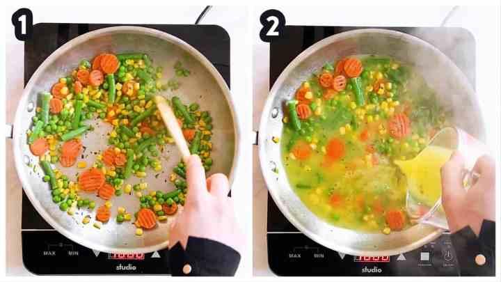 collage of photos to show sautéing frozen vegetables