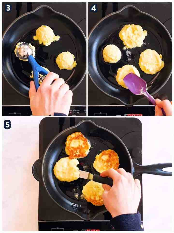 collage to show pan-frying of potato pancakes