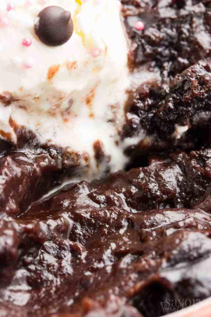 close up photo of chocolate pudding cake