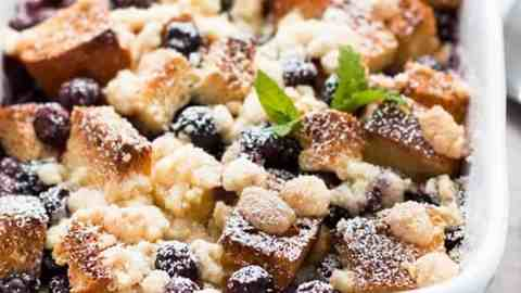 blueberry French toast bake in casserole dish