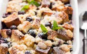 What's better than Blueberry French Toast Casserole? Blueberry French Toast Casserole with Streusel, of course! The perfect brunch dish for spring!
