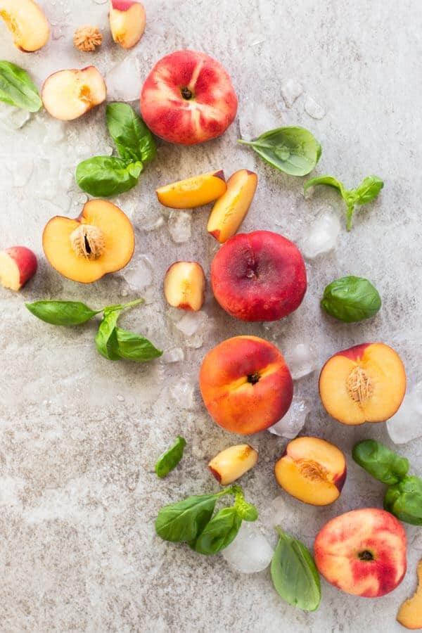 Ingredients for Basil Peach Agua Fresca Recipe