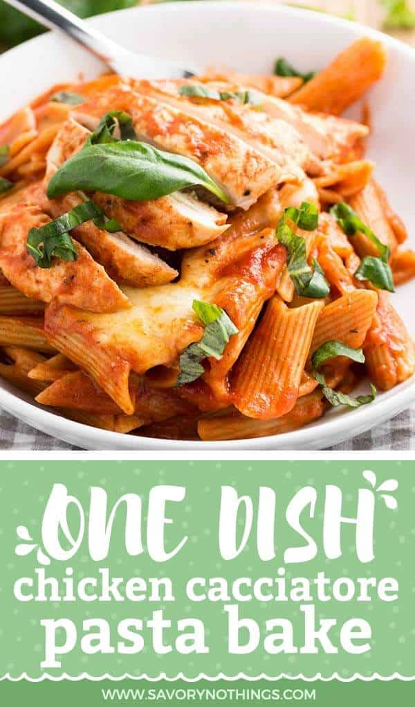 chicken cacciatore with pasta on white plate with text overlay