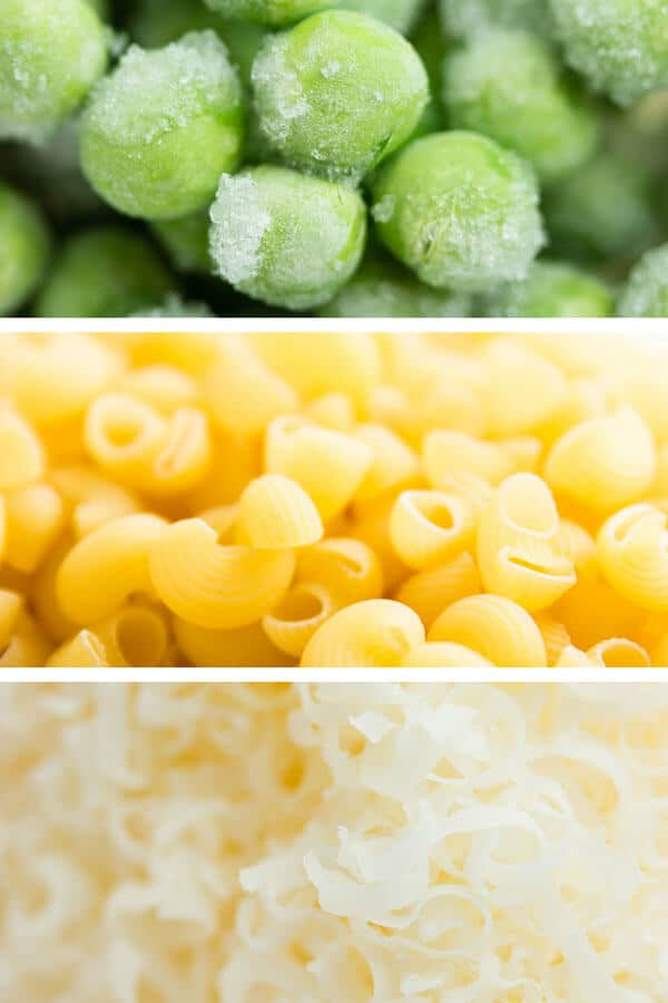 Ingrediens for one pot pea and bacon pasta.