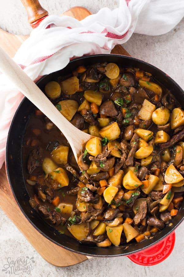Potato, beef tips and gravy skillet