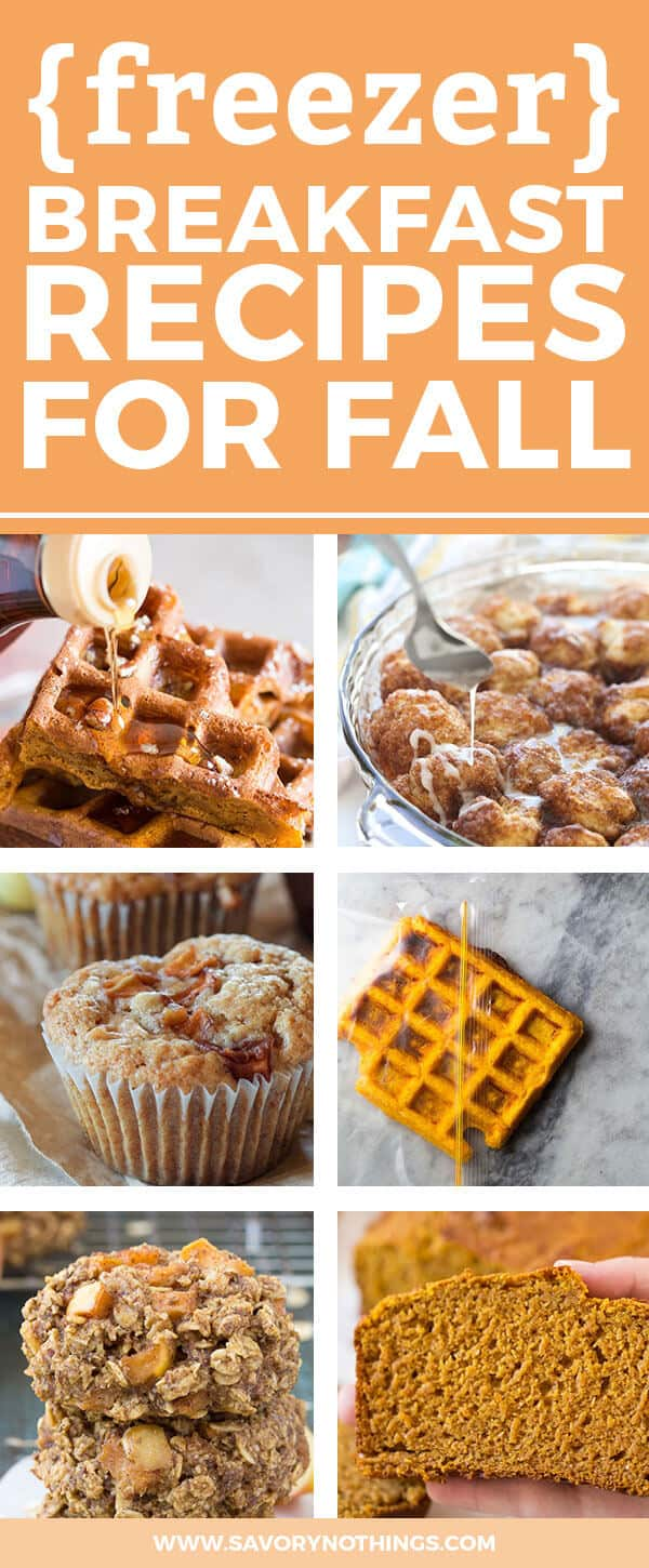 Are you looking for freezer friendly fall breakfast ideas? These 15 recipes are easy to put together and can all be frozen for those busy mornings with the kids! Filled with pumpkin, apple, cinnamon and other delicious fall flavors, these healthy make ahead meals will put homemade food on the table in minutes when you need it. From pancakes and waffles to bread and muffins and even oatmeal cups to heat and eat on the go, this has you covered. Click through now for the full list!