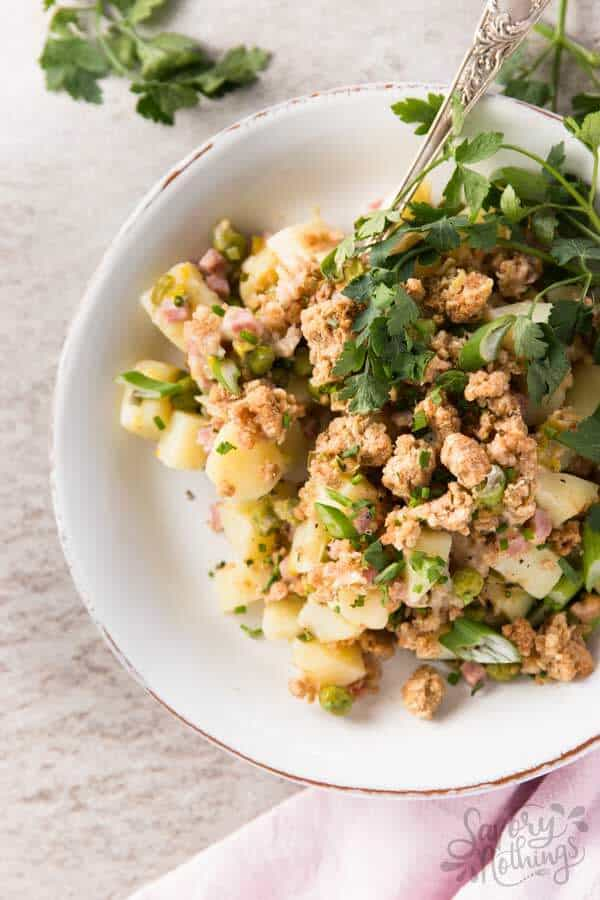 Cheddar Chive Savory Ham and Potato Crumble is perfect to use up leftover Easter ham. It's lighter, too!