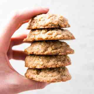 Stack of homemade oatmeal cookies.
