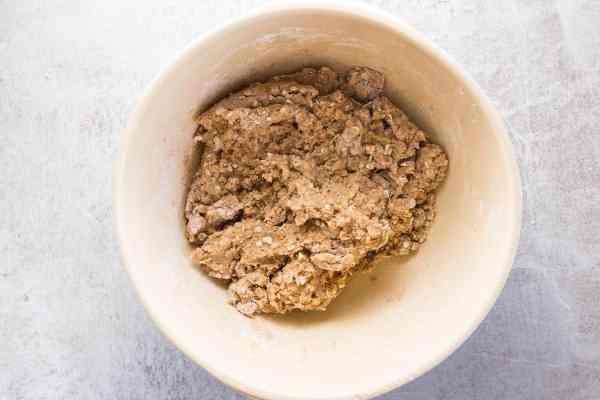 Finished oatmeal cookie dough, homemade from scratch.