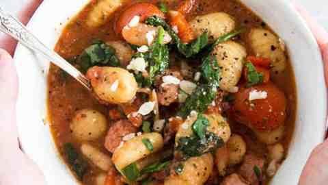 tuscan gnocchi in white bowl