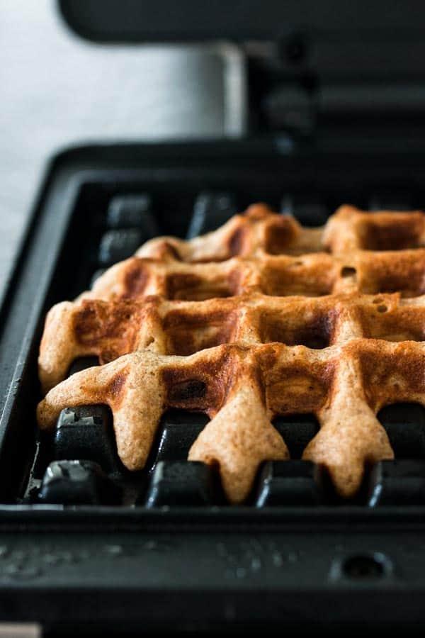 close up photo of waffle in waffle iron