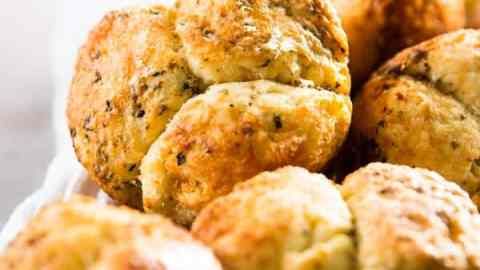 close up photo of garlic parmesan monkey bread