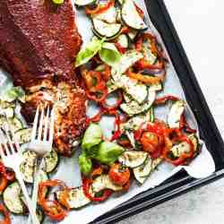 salmon on sheet pan with vegetables