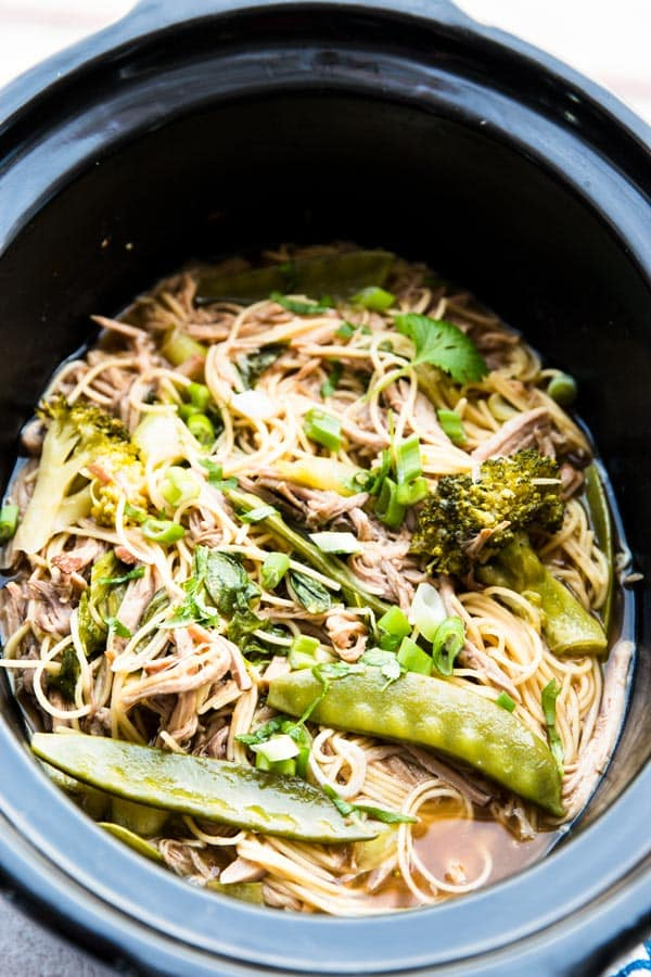 This slow cooker asian pork and noodles recipe is so easy to make! Perfect for summer.