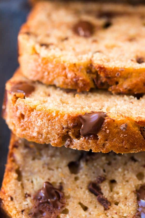 close up of chocolate chip banana bread slices