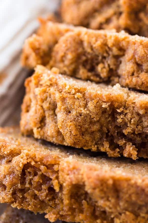 close up photo of cinnamon crunch banana bread