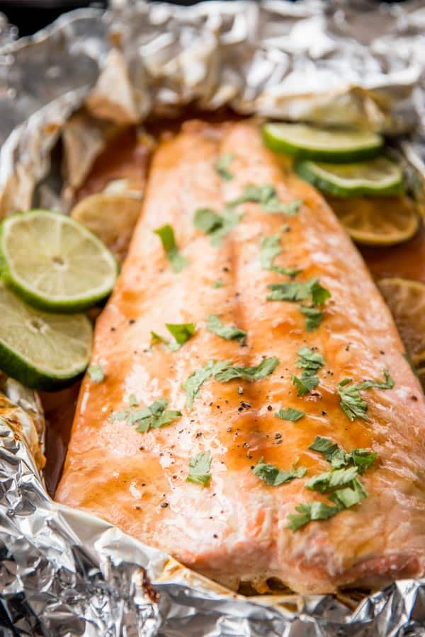 Honey Teriyaki Lime Salmon Baked in Foil is ready in no time. The whole family will love this for dinner!