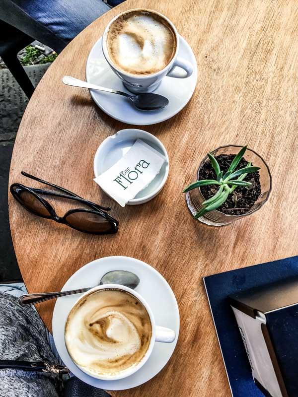 Cappuccino at Café Bar Flora in Citta Alta of Bergamo, Italy.