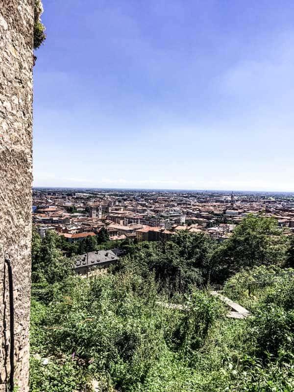View over Citta Bassa from Citta Alta, Bergamo (Italy)