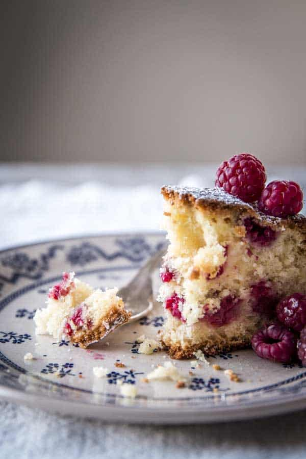 half eaten slice of raspberry cake on floral plate