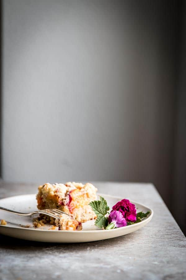 A lonely slice of streusel coffee cake. Topped with stone fruit for a delicious summer treat!