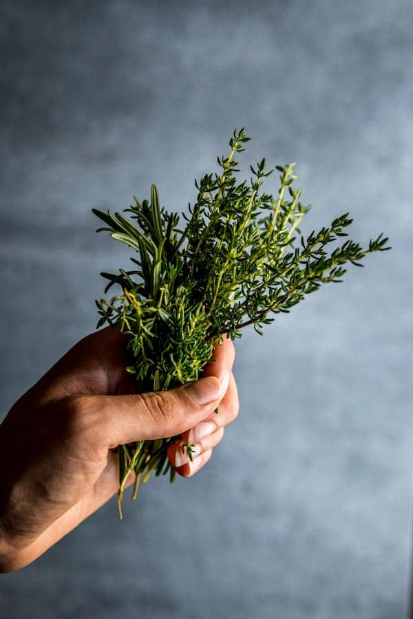 Fresh rosemary and thyme. Beautiful still life food photography and styling.