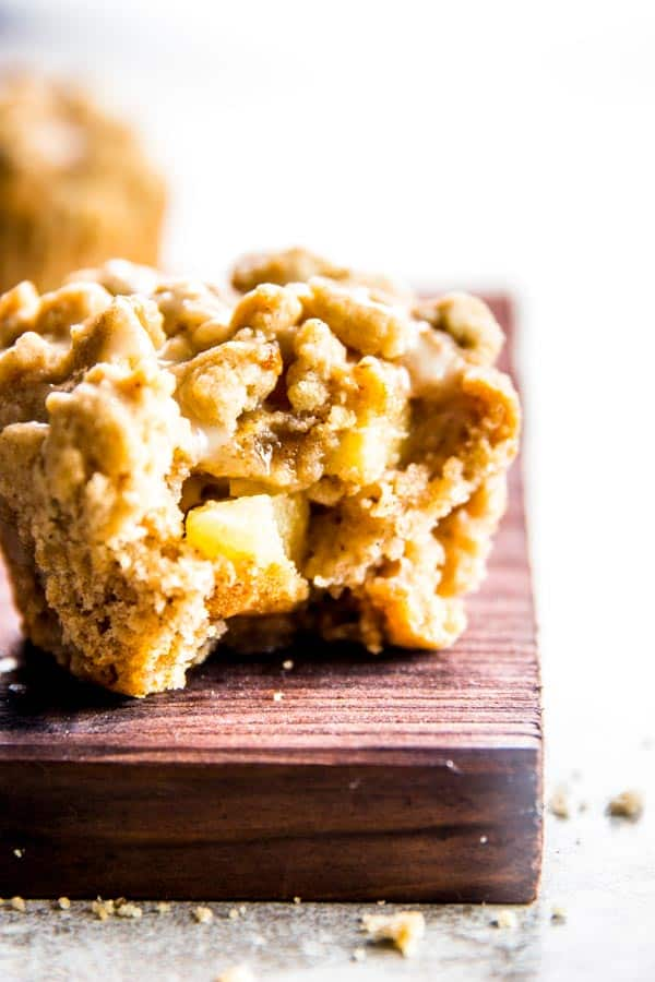 Delicious apple cinnamon muffins with large chunks of fresh apple.