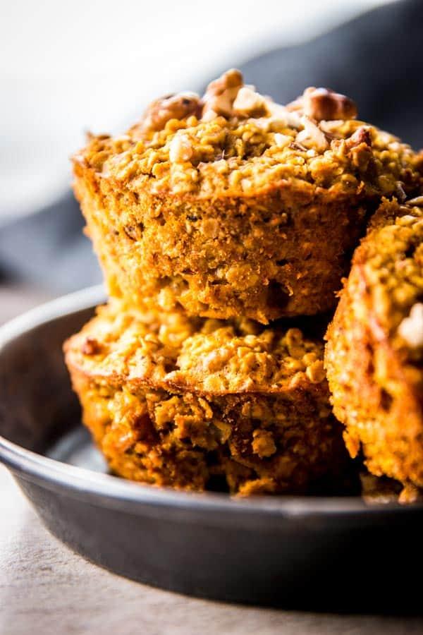 close up photo of pumpkin baked oatmeal