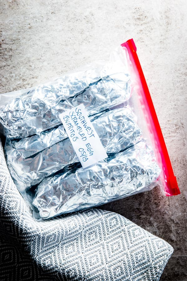 overhead view on burritos packed in freezer bag