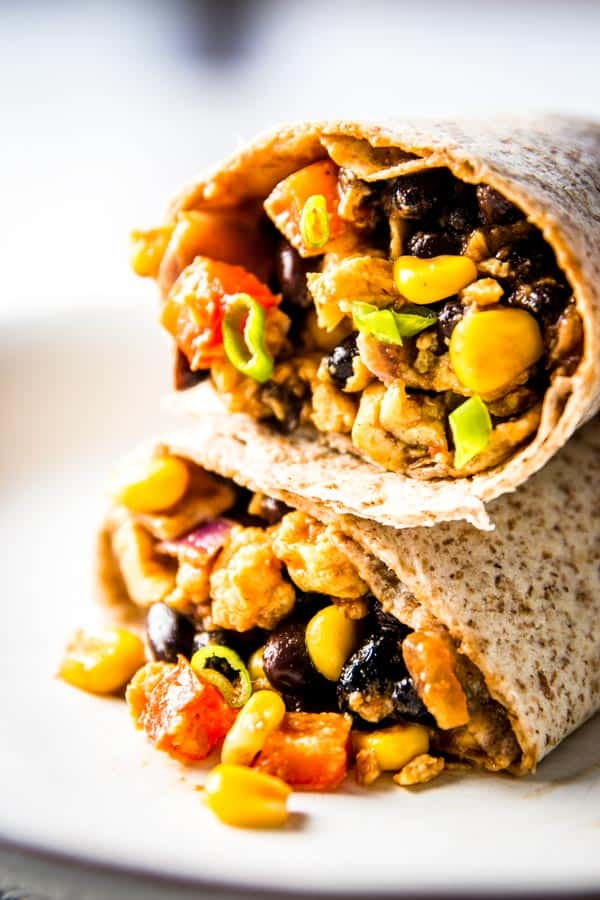 Freezer friendly recipe for scrambled egg breakfast burritos! With plenty of southwestern BBQ flavors for an extra treat.