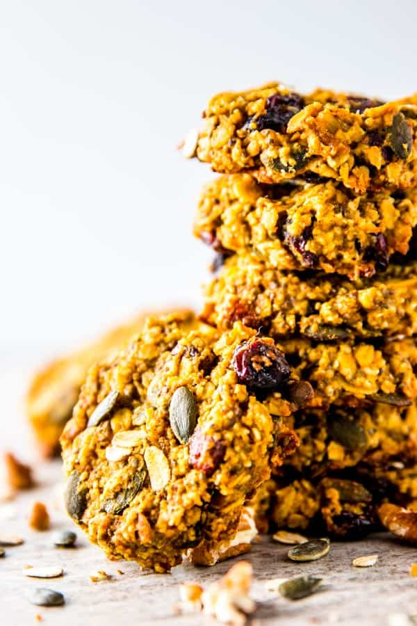 Pumpkin breakfast cookies are a simple way to add autumn glow to your meal prep. Stock your freezer with them this fall!